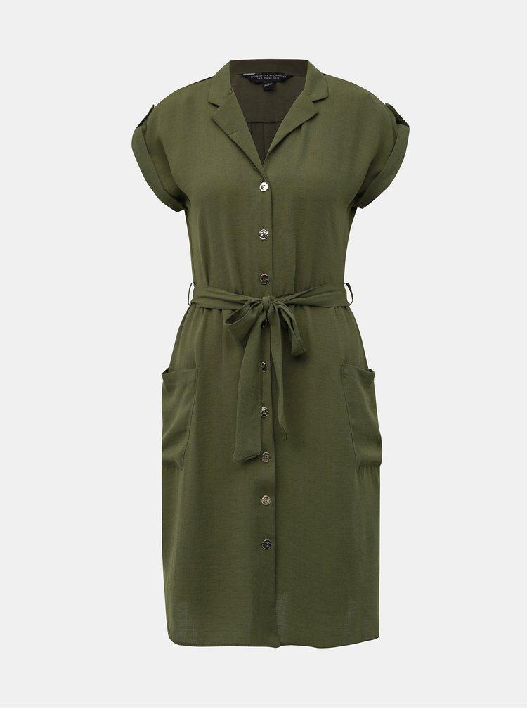 Kaki košeľové šaty Dorothy Perkins