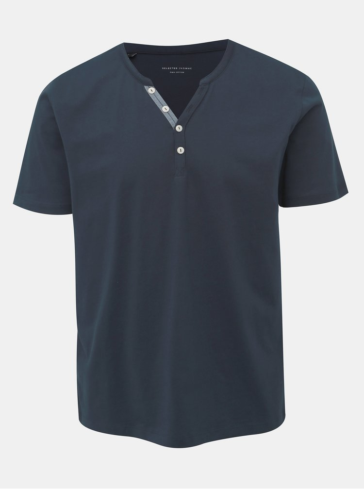 Tmavomodré tričko Selected Homme Pima