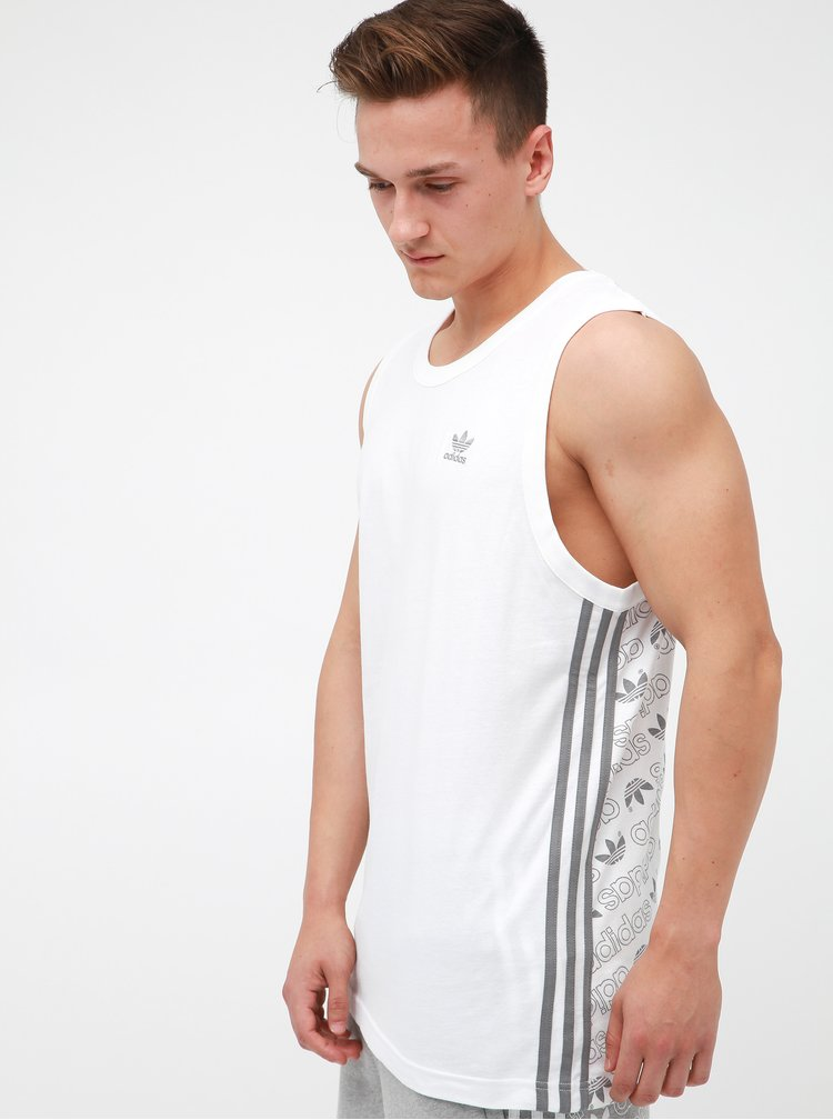 Bílé pánské tílko s potiskem na zádech adidas Originals Monogram