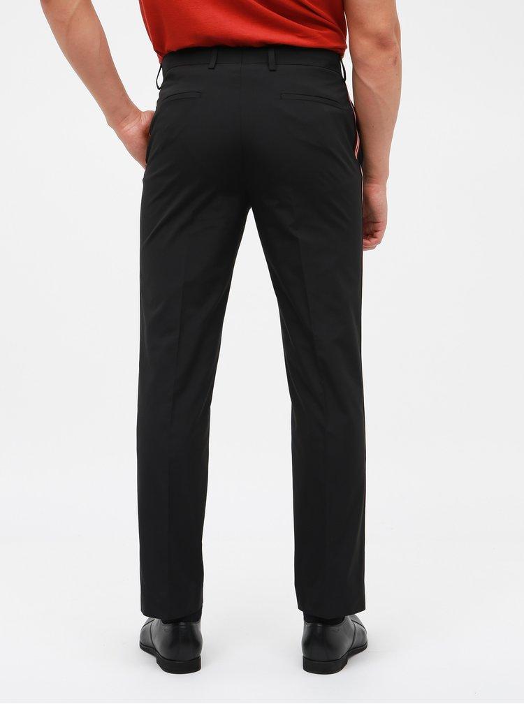 Černé slim fit kalhoty s lampasy Burton Menswear London