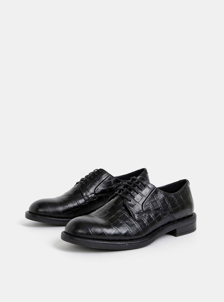 Černé kožené polobotky s krokodýlím vzorem Vagabond Amina