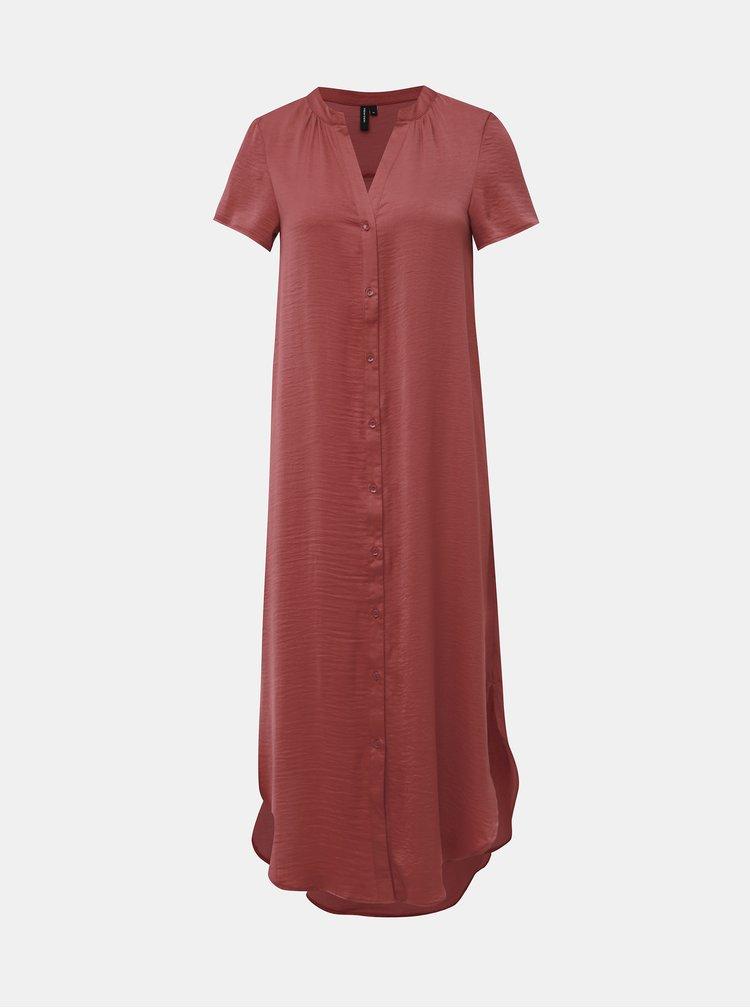 Tehlové košeľové šaty VERO MODA Alba