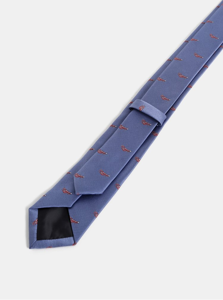 Modrá vzorovaná slim kravata Burton Menswear London Lobster