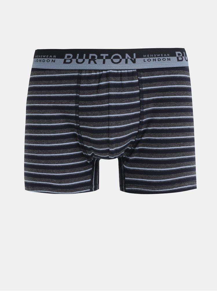 Sada tří šedých vzorovaných boxerek Burton Menswear London Trunk