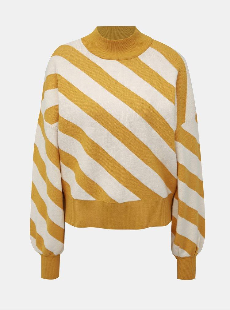 Bielo-horčicový pruhovaný sveter VERO MODA Labi