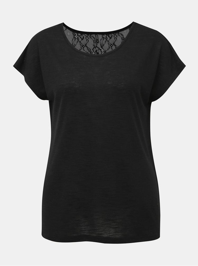 Čierne tričko s krajkou ONLY Elena