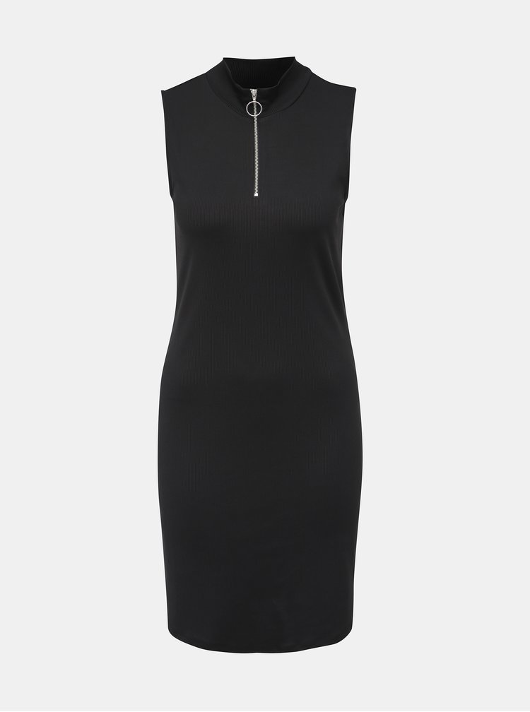 Čierne rebrované šaty VERO MODA Cillas