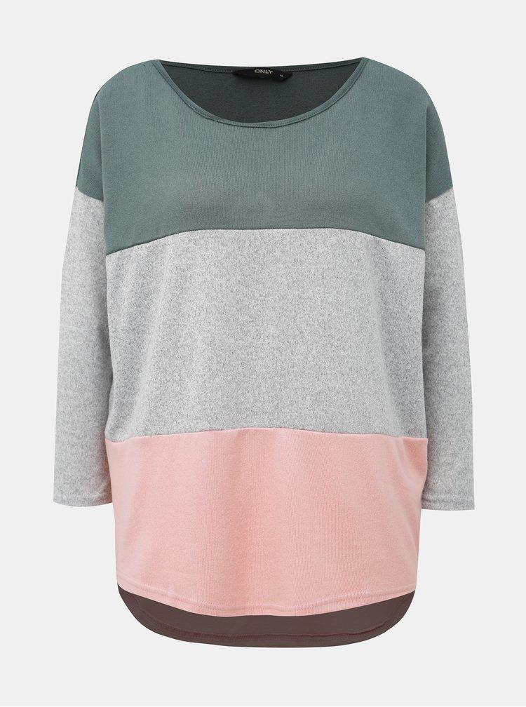 Šedo-zelený žíhaný ľahký sveter ONLY Elcos