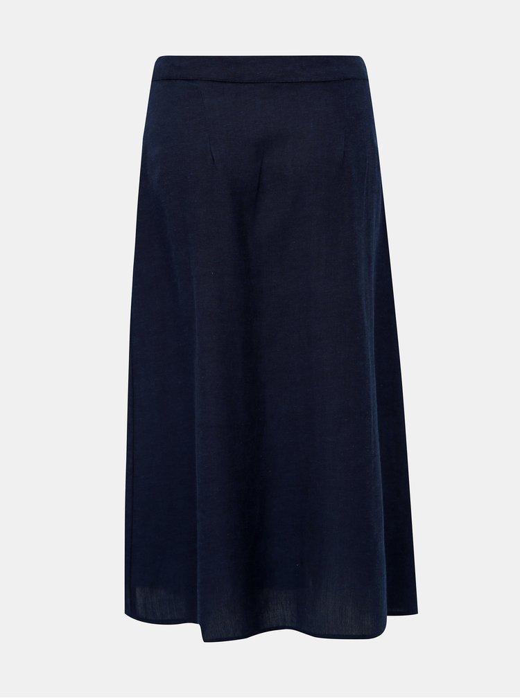 Tmavě modrá sukně s příměsí lnu Jacqueline de Yong Tulip