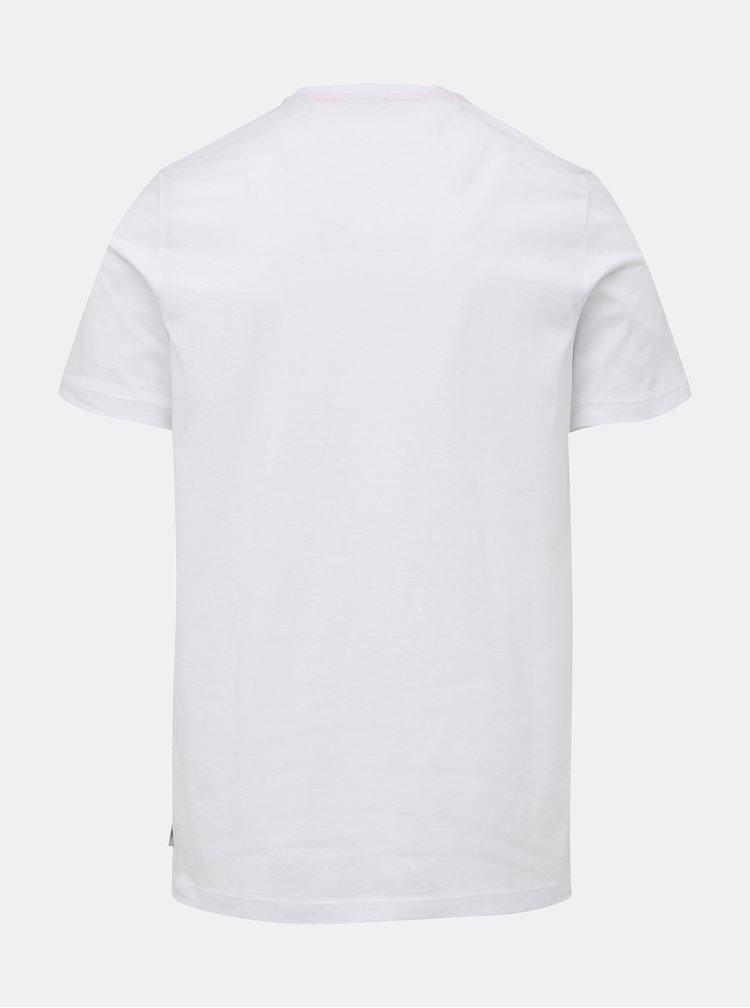Bílé slim fit tričko s potiskem Jack & Jones CORE Foni