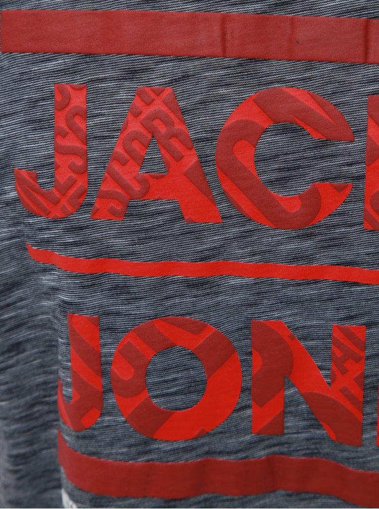 Šedé žíhané slim fit tričko s potlačou Jack & Jones CORE Foni