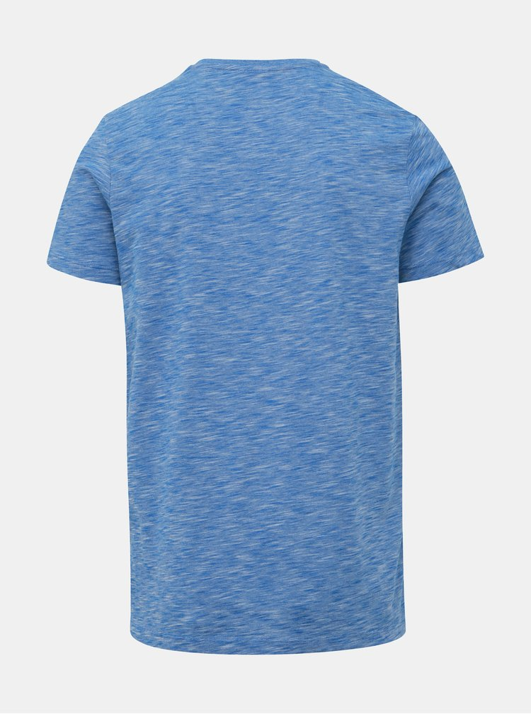 Modré žíhané slim fit tričko s potlačou Jack & Jones CORE Foni