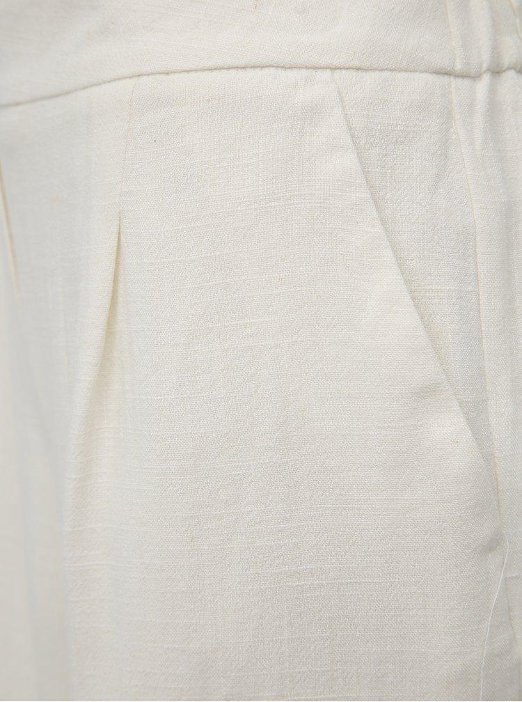 Krémové šortky s příměsí lnu Dorothy Perkins