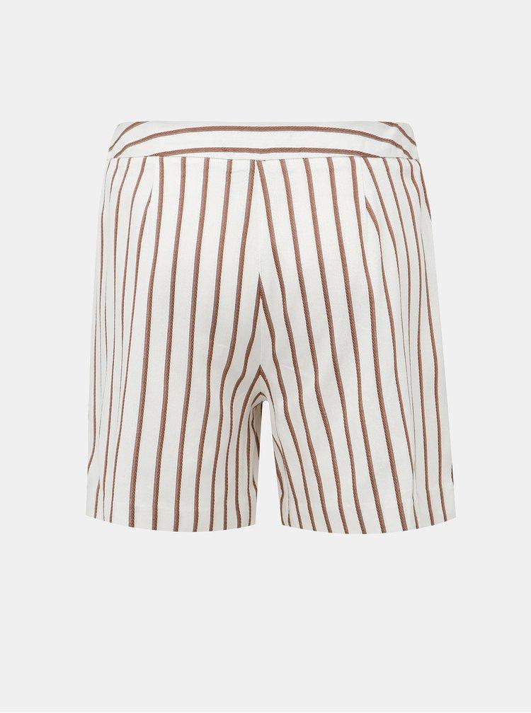 Krémové pruhované šortky Dorothy Perkins