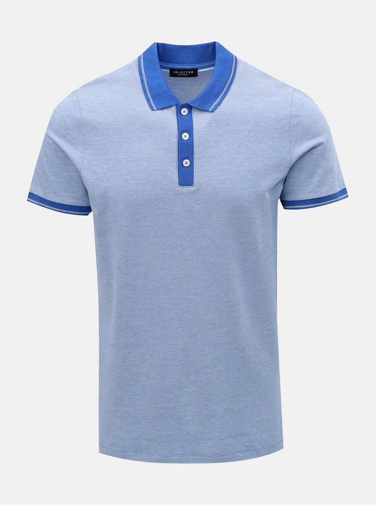 Tricou polo albastru melanj Selected Homme Joe