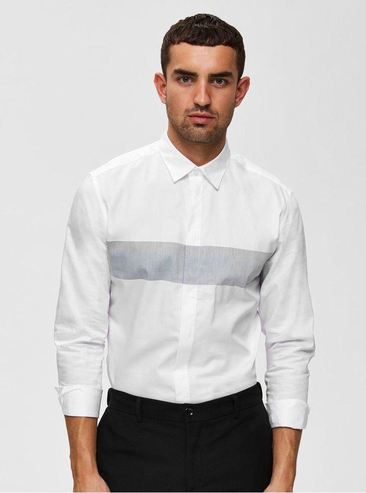 Biela slim fit košeľa Selected Homme Block