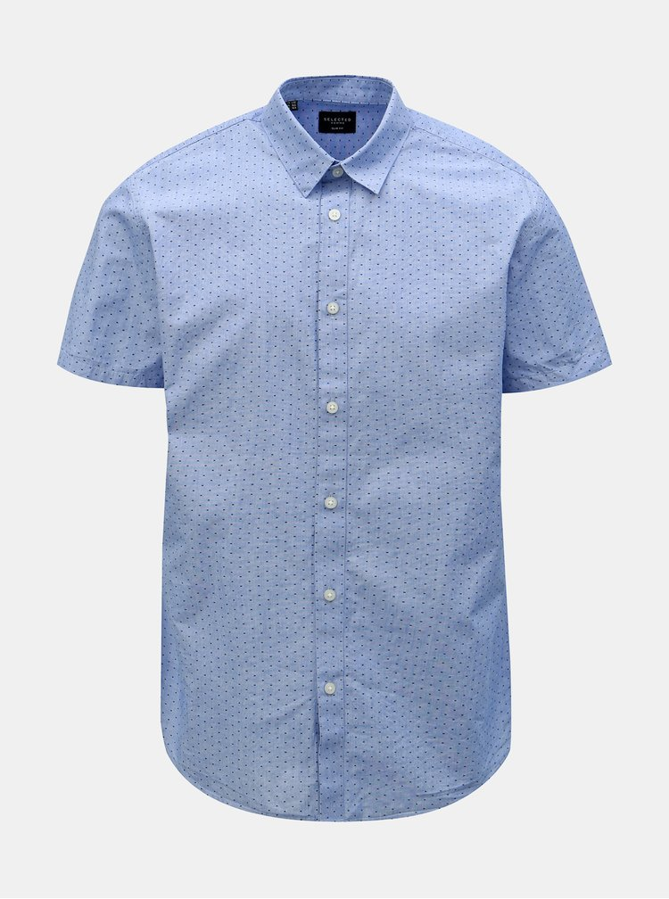 Modrá vzorovaná slim fit košile Selected Homme Chris