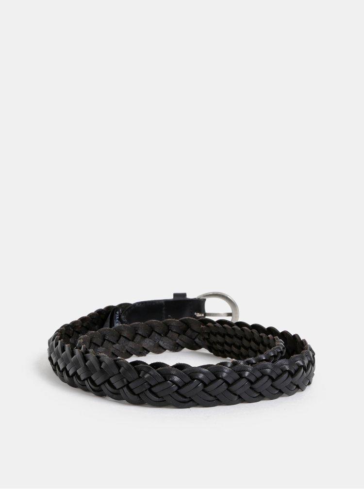 Černý kožený pásek Pieces Aya