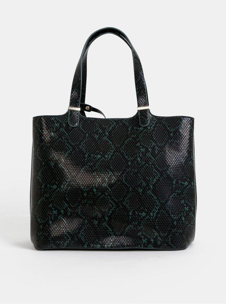 Zeleno-černý shopper s pouzdrem a hadím vzorem Pieces Kopa