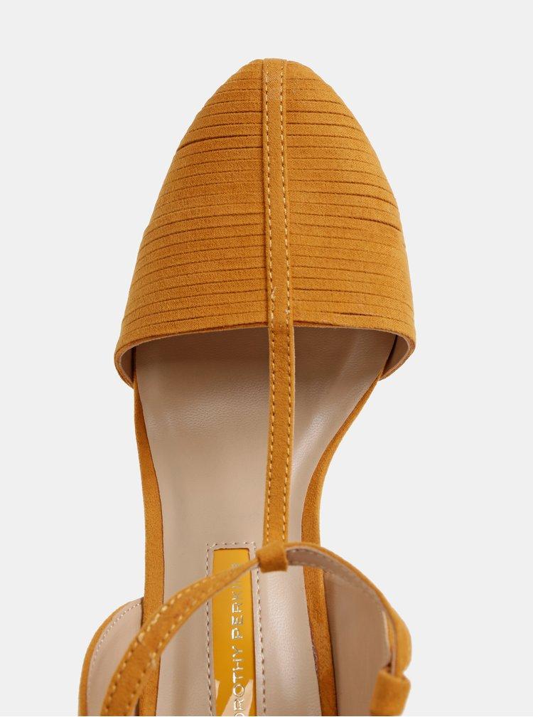 Horčicové sandálky v semišovej úprave Dorothy Perkins