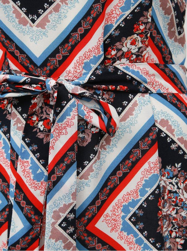 Červeno-modré vzorované maxišaty Dorothy Perkins