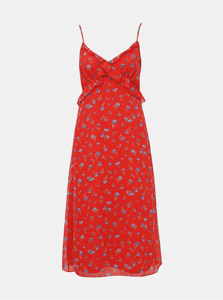 Červené květované midišaty Dorothy Perkins