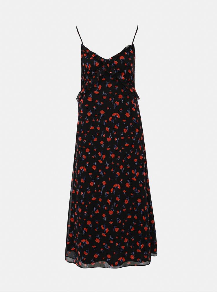 Černé květované midišaty Dorothy Perkins