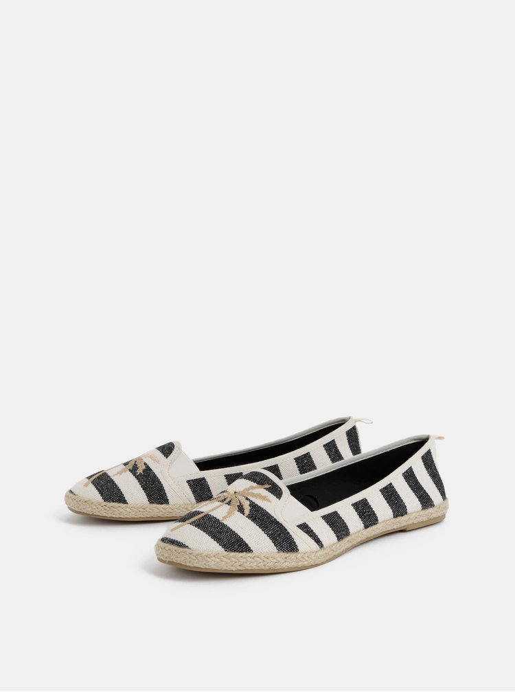 Černo-krémové dámské pruhované espadrilky Haily´s Lari