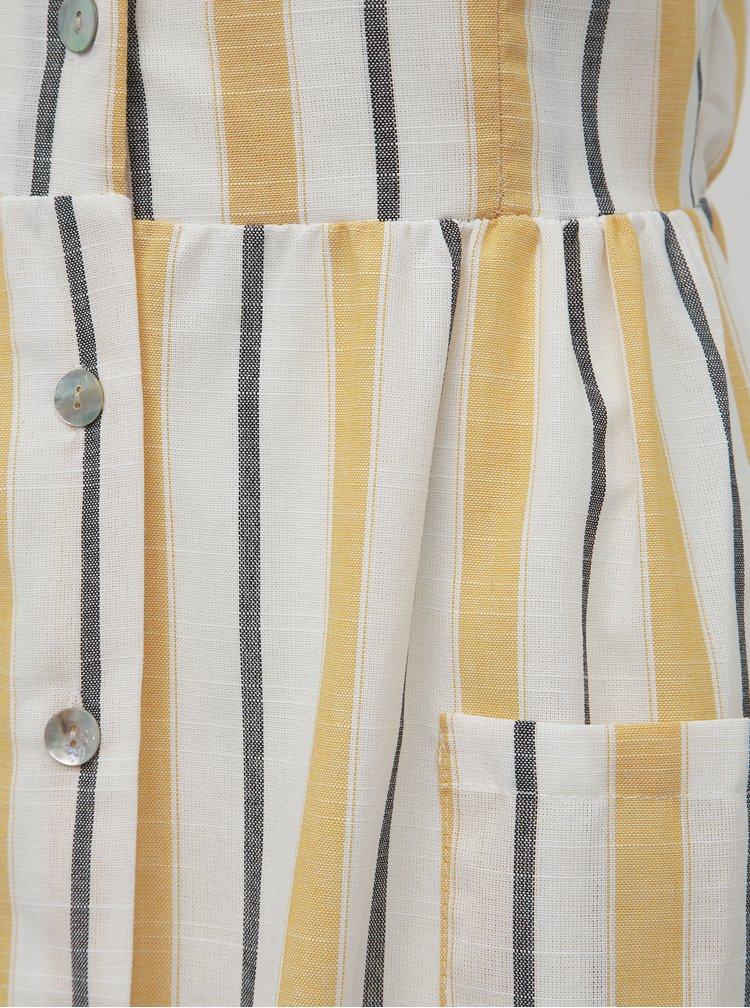 Bielo-žlté pruhované midišaty Haily´s Amaly