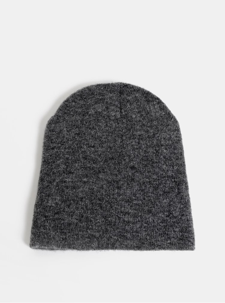 Šedá čepice s příměsí vlny Pieces Kimmie