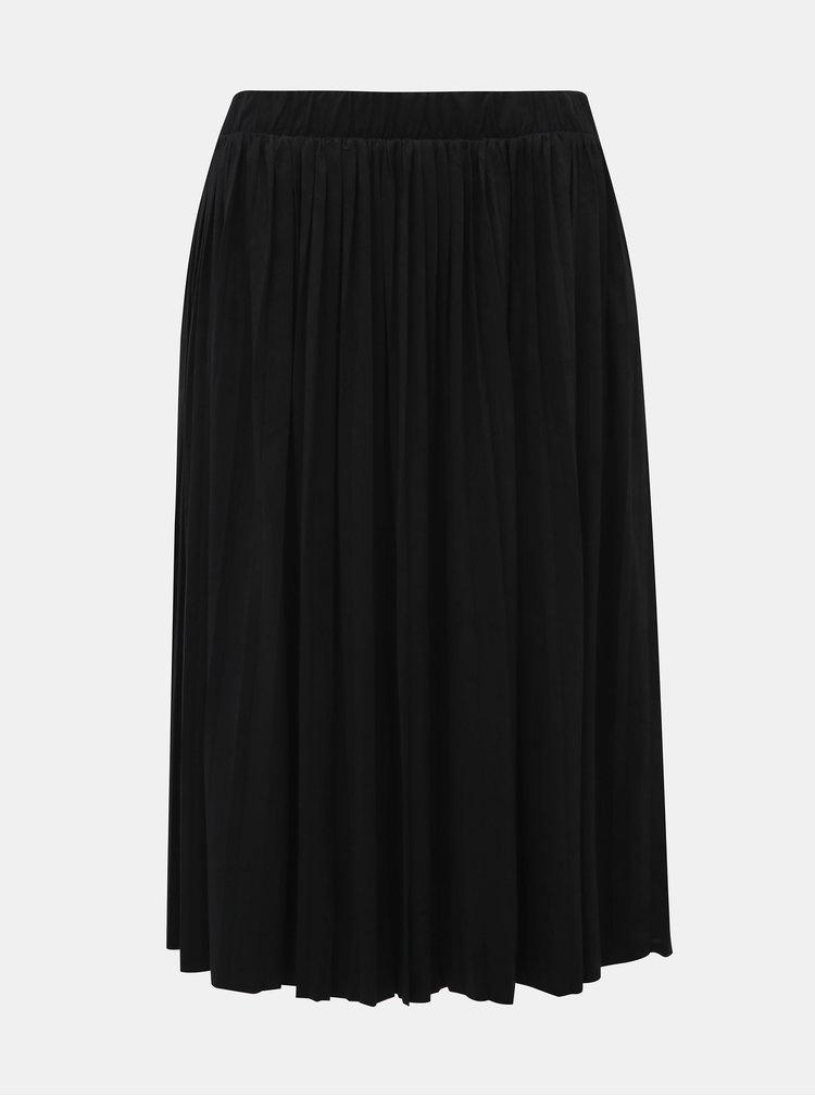 Černá plisovaná sukně v semišové úpravě Noisy May Tina