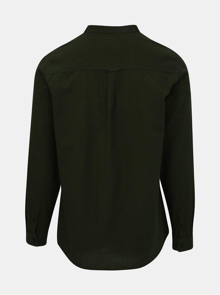 Khaki košile s příměsí lnu Burton Menswear London