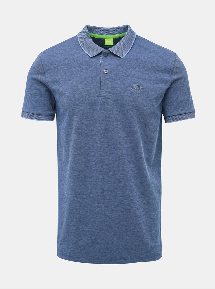 Modré modern fit polo tričko Feedback