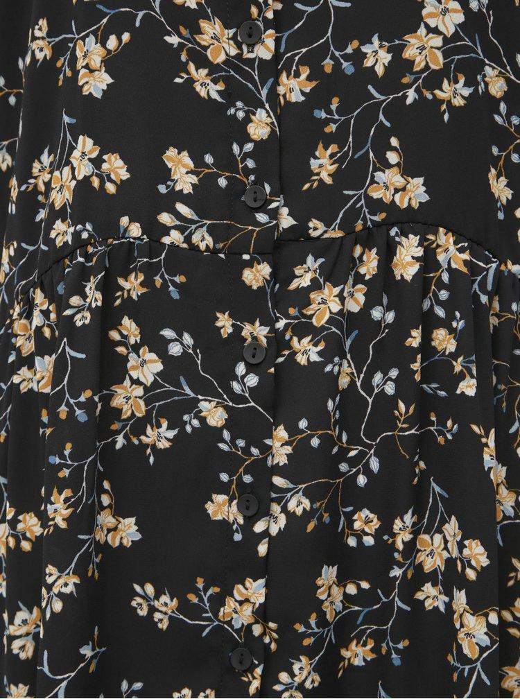 Černé květované košilové šaty Jacqueline de Yong Zoey