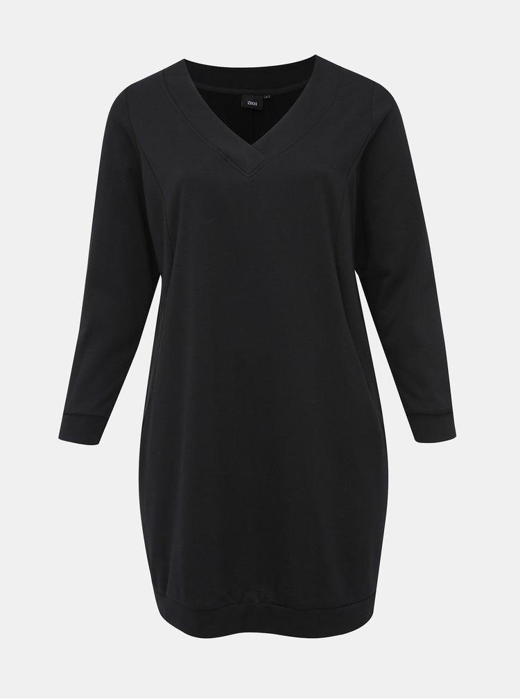 Čierne mikinové šaty Zizzi Gunvur