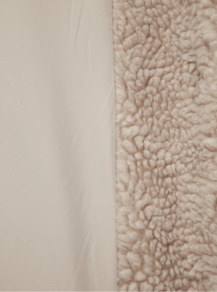Béžový kabát z umělé kožešiny ONLY Aurelia