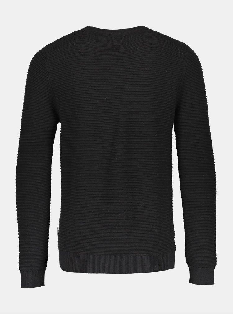 Čierny rebrovaný basic sveter Lindbergh