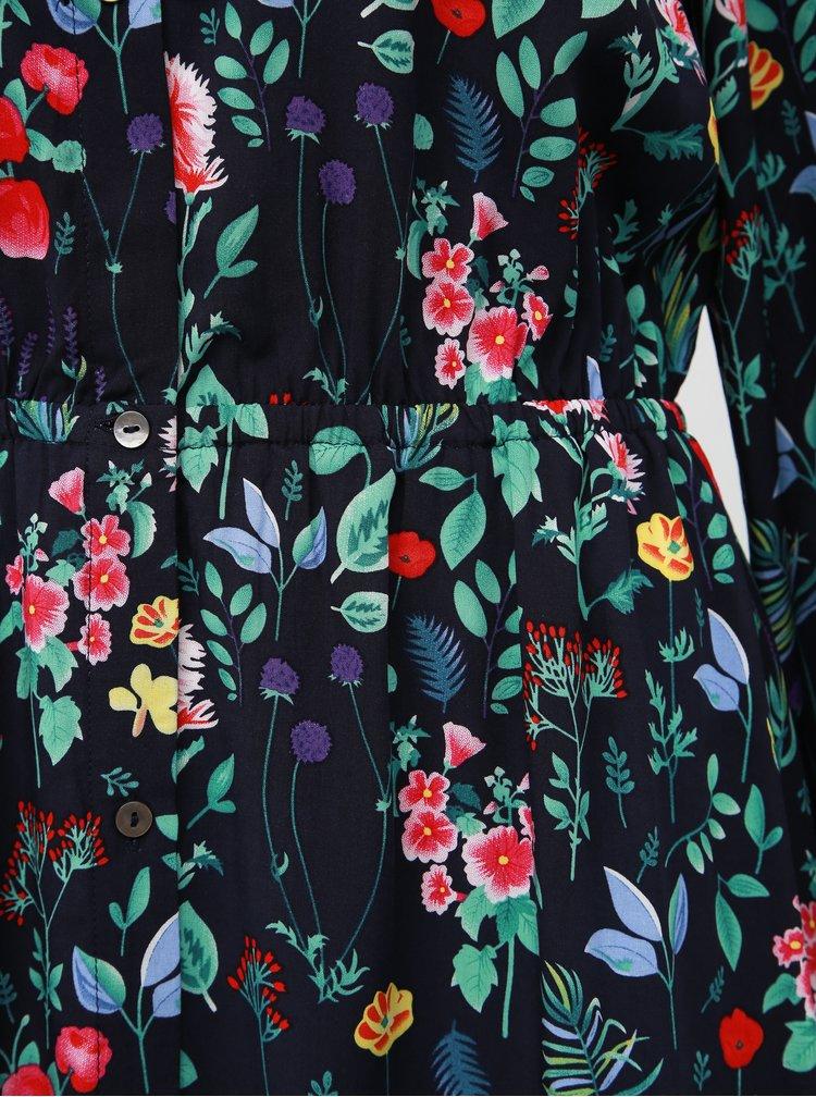 Tmavomodré kvetované midišaty ONLY Nova