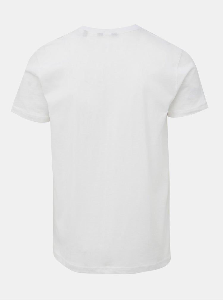 Bílé tričko s potiskem a výšivkou Shine Original Hollywood