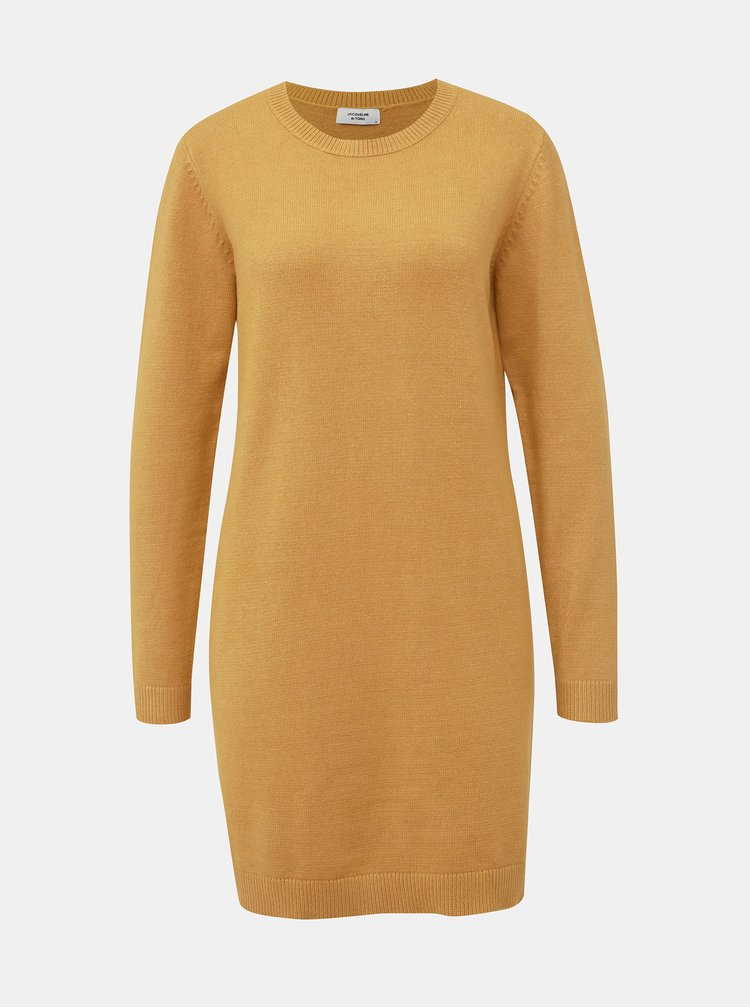 Hořčicové svetrové šaty Jacqueline de Yong Marco