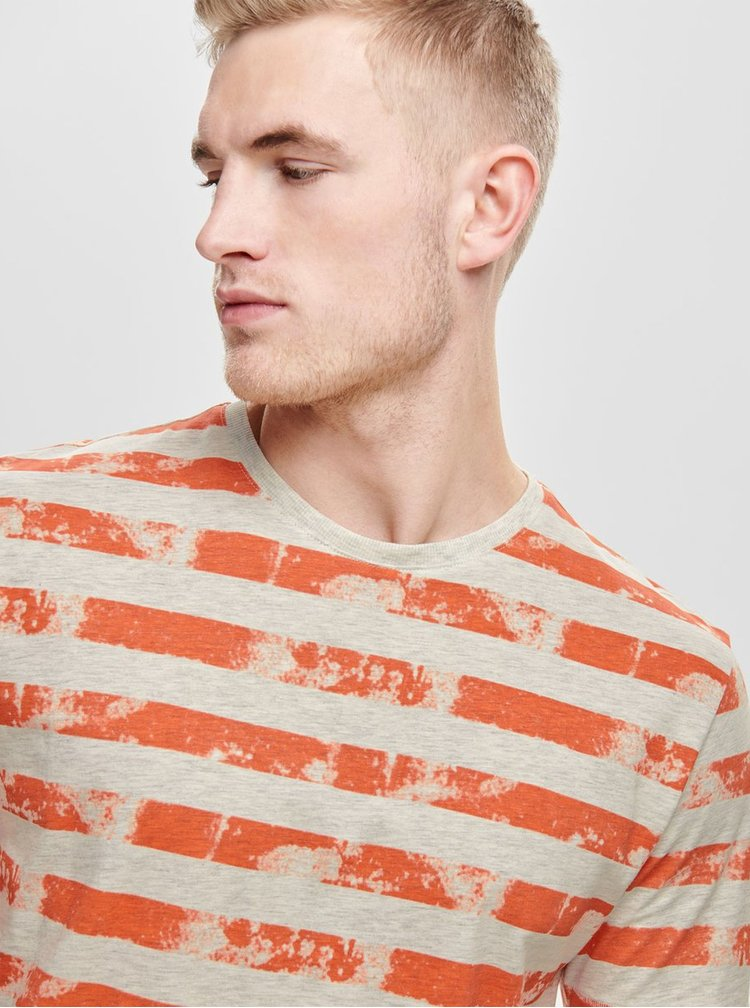 Šedo-oranžové pruhované tričko ONLY & SONS Patrik