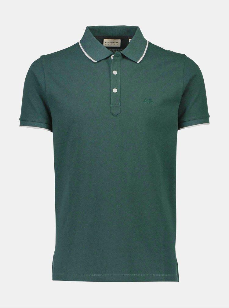 Tmavě zelené slim fit polo tričko Lindbergh