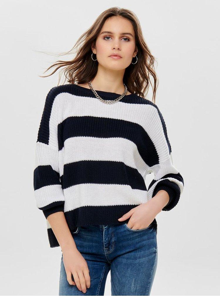 Bielo-čierny pruhovaný sveter ONLY Campos
