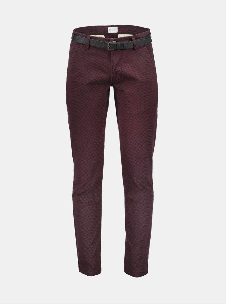 Vínové vzorované chino nohavice Lindbergh