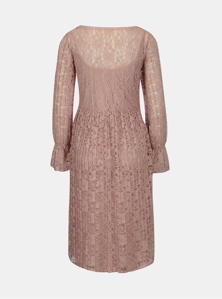 Staroružové čipkované šaty 2 v 1 VILA Jaclyn