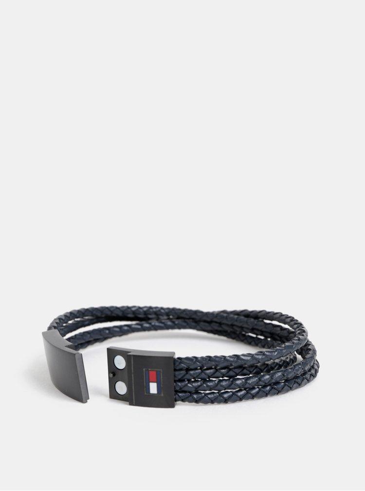 Tmavě modrý kožený náramek Tommy Hilfiger