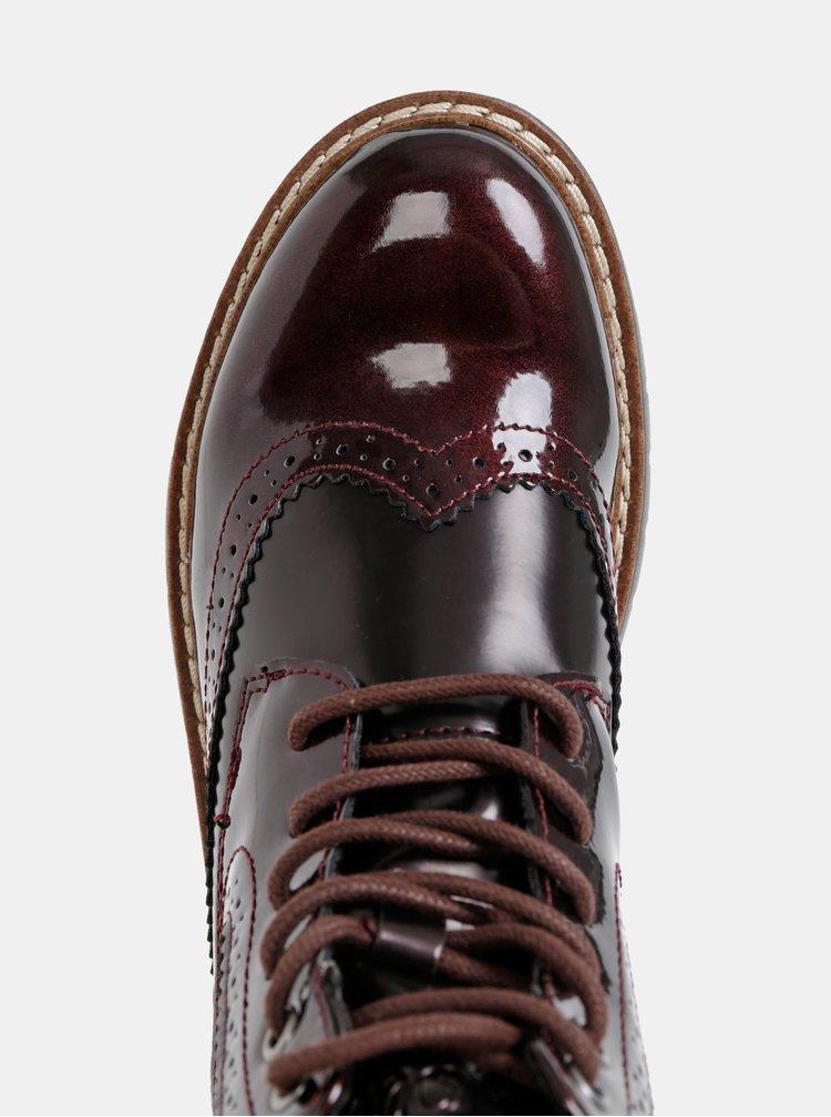 Vínové dámské kotníkové boty s.Oliver