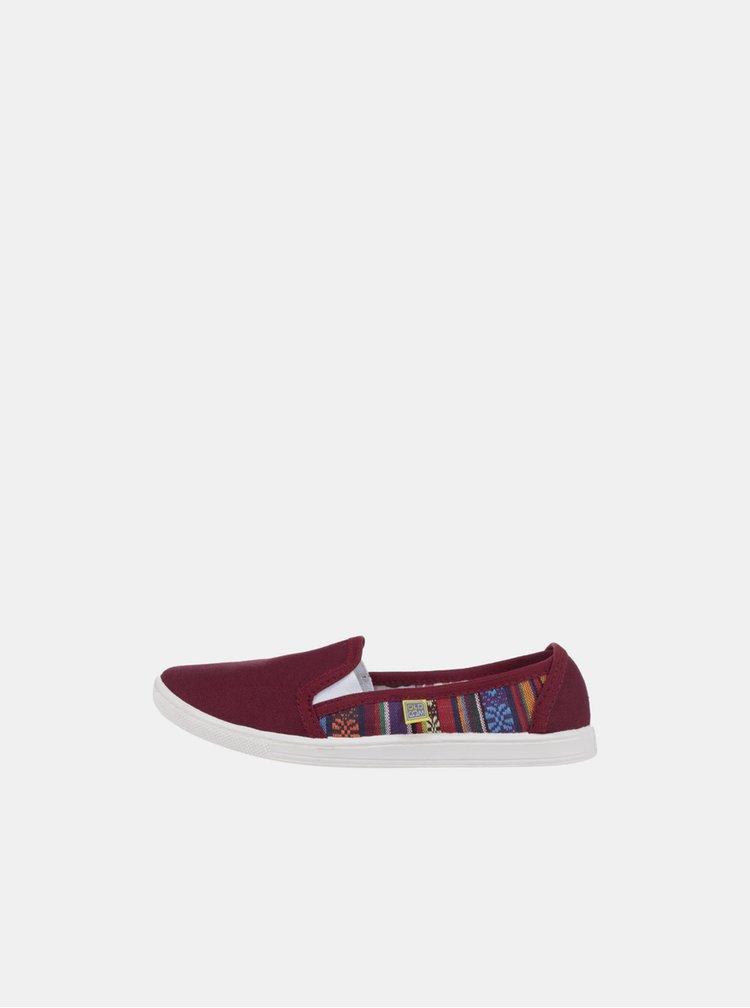 Pantofi slip-on bordo cu model pentru femei Oldcom Mixt