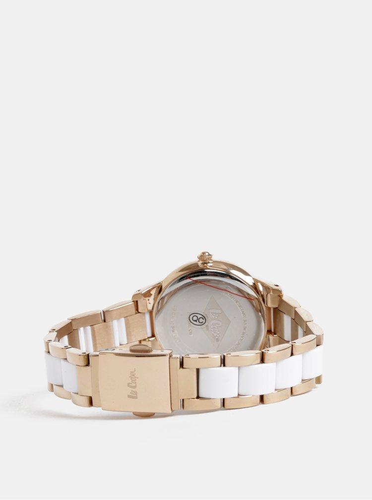 Dámske hodinky s nerezovým remienkom v bielej a zlatej farbe Lee Cooper