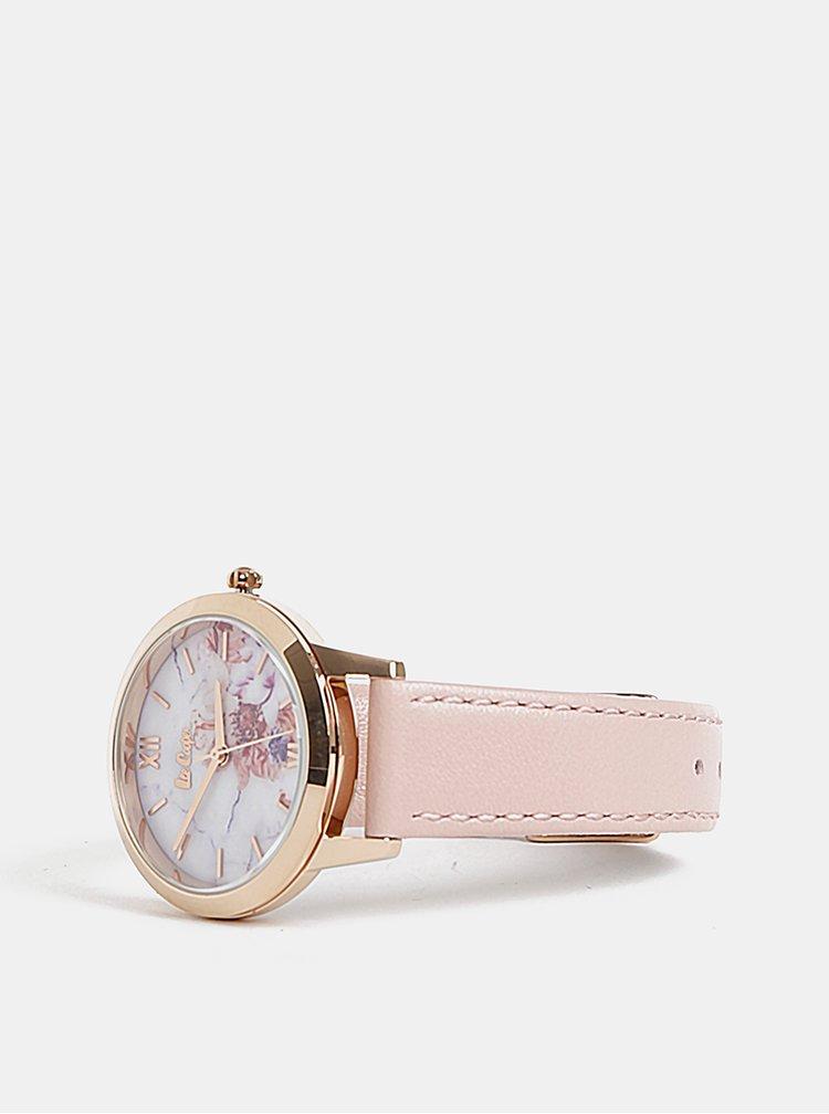 Dámské hodinky se světle růžovým koženým páskem Lee Cooper
